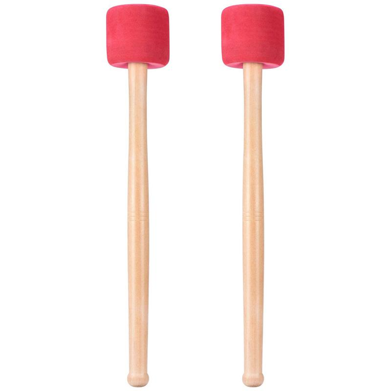 Hot HG-Bass Drum Mallets Sticks Red Foam Mallet With Wood Handle For Percussion Bass Drum 13 Inch