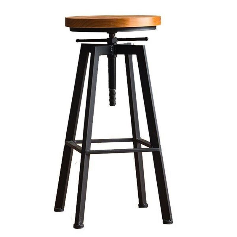 Iron Bar Chair Industrial Wind Rotating  Stool Home Lifting   Solid Wood High