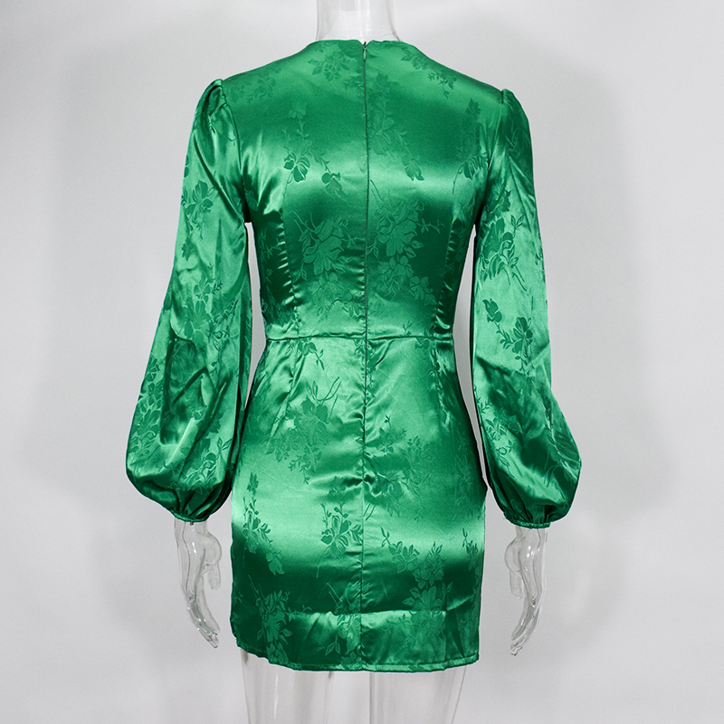 Image 5 - NewAsia Garden Green Sexy Dress Women Long Lantern Sleeve Deep V neck Single breasted Printted Party Dress Vintage Casual DressDresses   -