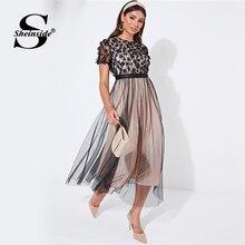 Sheinside Floral Applique Mesh Detail Party Dress Women 2019