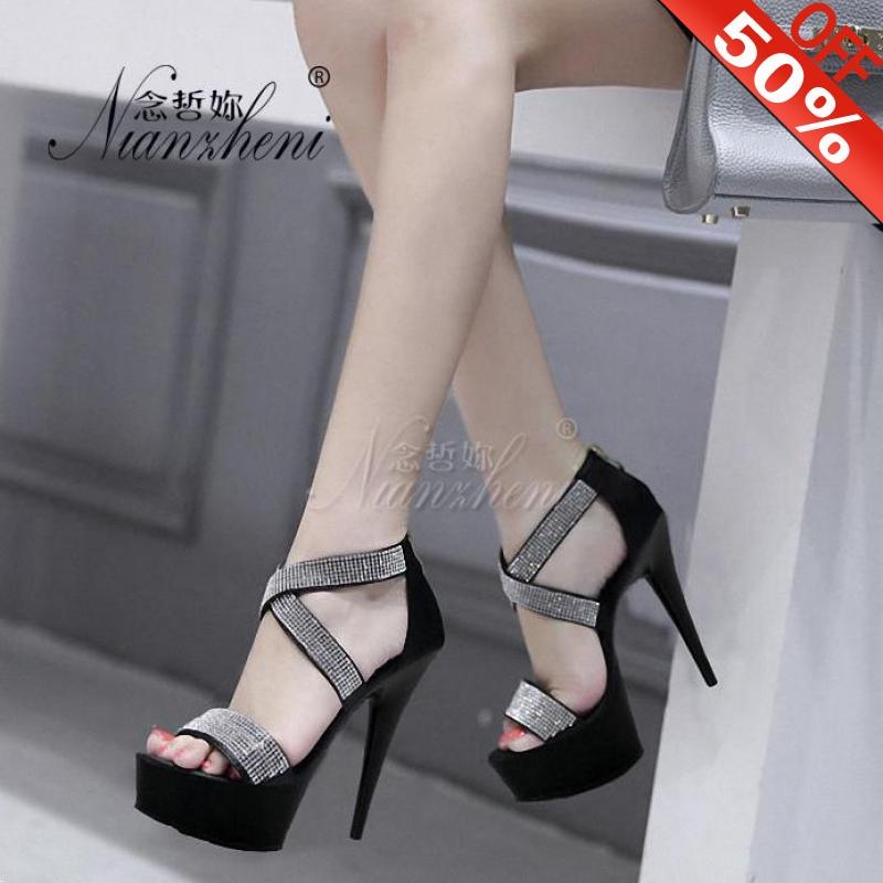 Women's Party Sandals Pole Dancing 6 Inch High Heels Shoes lady 15cm Womens Fashion Platform Ankle Strap Rhinestone Sandals