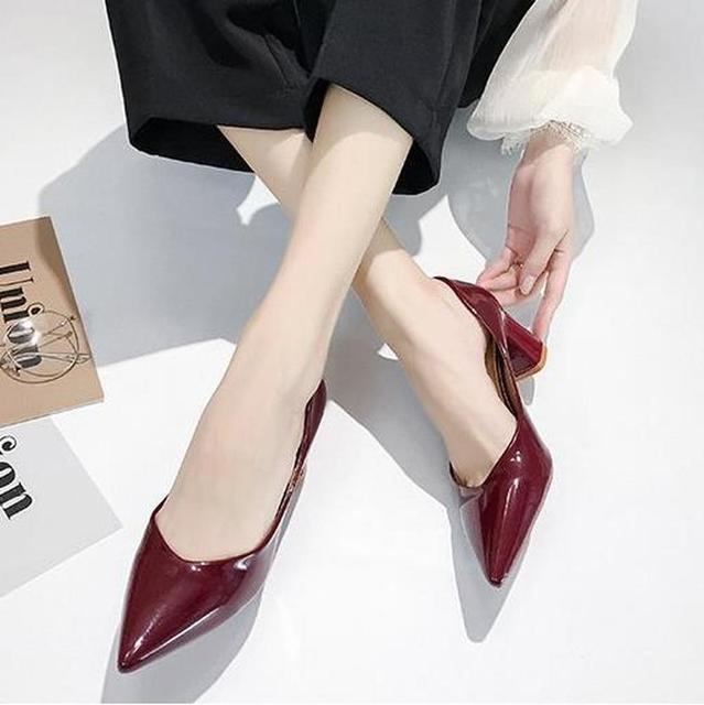 Женские туфли на высоком каблуке в европейском стиле; коллекция 2019 года; сезон весна; новые женские туфли лодочки; тонкие туфли с острым носком на толстой подошве; Рабочая обувь