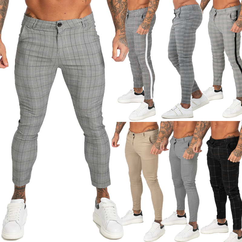 GINGTTO Men Chinos Trousers Skinny Super Stretch Chino Pants Slim Fit Mens Casual Pant Plaid Grey Elastic Waist London Fashion