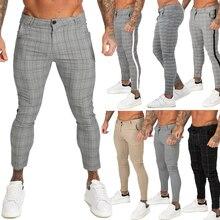 GINGTTO Mens מכנסיים מקרית Mens מכנסיים סקיני סופר למתוח Mens מכנסי כותנה מכנסיים Slim Fit Mens מזדמן מכנסיים משובץ אלסטי מותניים