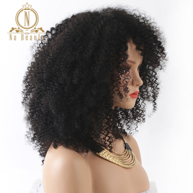 150% Density Afro Kinky Curly Lace Front Wigs Pre Plucked With Bangs 13x4 Lace Human Remy Hair Wigs For Black Women Na beauty 3