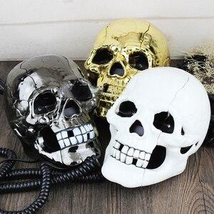 Image 2 - Проводной мини телефон креативный череп голова призрак телефон, глаза со светодиодной мигающей светильник кой, аудио/импульсный набор, украшение для дома