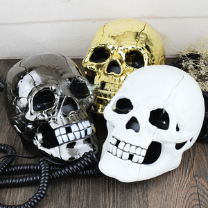Image 2 - Mini Corded Phone Creative Skull Head Ghost Telephone, Eyes with LED Flashing Light, Audio / Pulse Dialing, Decoration for Home