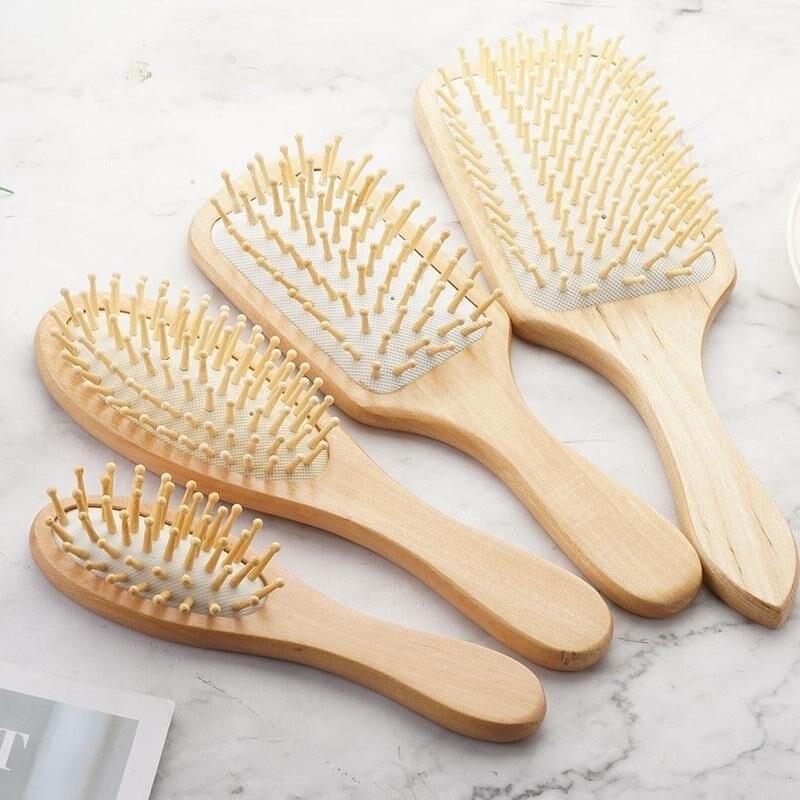 Массажная расческа для волос (4 варианта) из бамбука с деревянными зубьями