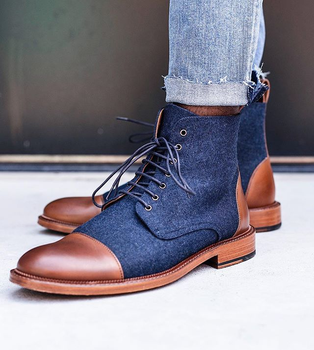 Men's New Fashion Pu Leather Low Heel Round Toe Ankle Shoes Men's Retro Classic Casual British Retro Martin Boots HA571 haraval handmade winter woman long boots luxury flock round toe soft heel shoes elegant casual warm retro buckle solid boots 289