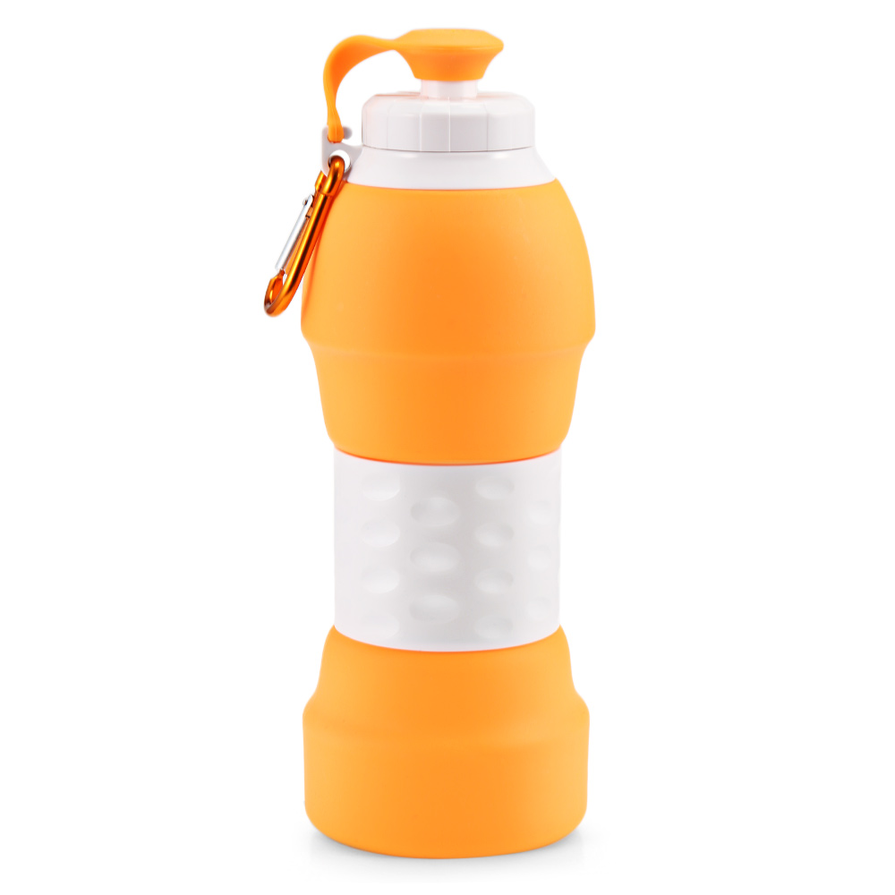 Hd082cbc5e1a543af91c3acd15c622bfdP 500ML Portable Silicone Water Bottle Retractable Folding Coffee Bottle Outdoor Travel Drinking Collapsible Sport Drink Kettle