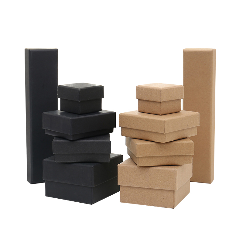 <font><b>Cardboard</b></font> Jewelry <font><b>Box</b></font> <font><b>Ring</b></font> Necklace Bracelet Earring Gift Packaging Storage Boxes With Sponge Inside Rectangle Square Black Tan image