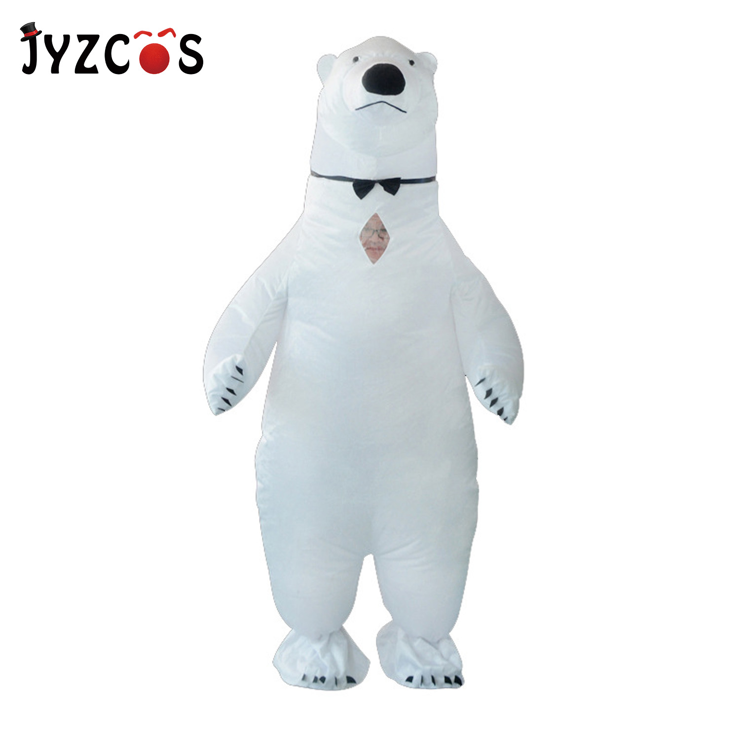 JYZCOS Halloween Party Adult Inflatable Costume Cute Polar Bear Mascot Performance Clothes Women Men Carnival Purim Cosplay Cost