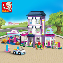 Pink Dream City Street House Model Building Blocks Sets Hobbies Toys for children LegoINGLs Friends Bricks Girls Christmas Gifts 34052 house building bricks legocean city streetview villa garden building blocks sets doll model house gifts kids children toys