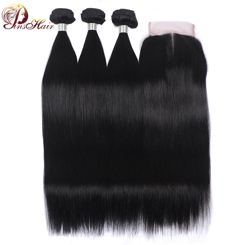 Pinshair Brazilian Straight Hair Bundles With Closure Remy Human Hair Weave Bundles With Closure 4*4 Lace Closure With Bundles