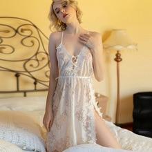 IRENE TINNIE Sexy Pyjamas femmes Perspective dentelle évider profond V Lingerie solide bretelles Nuisette fendue dos nu chemise de nuit