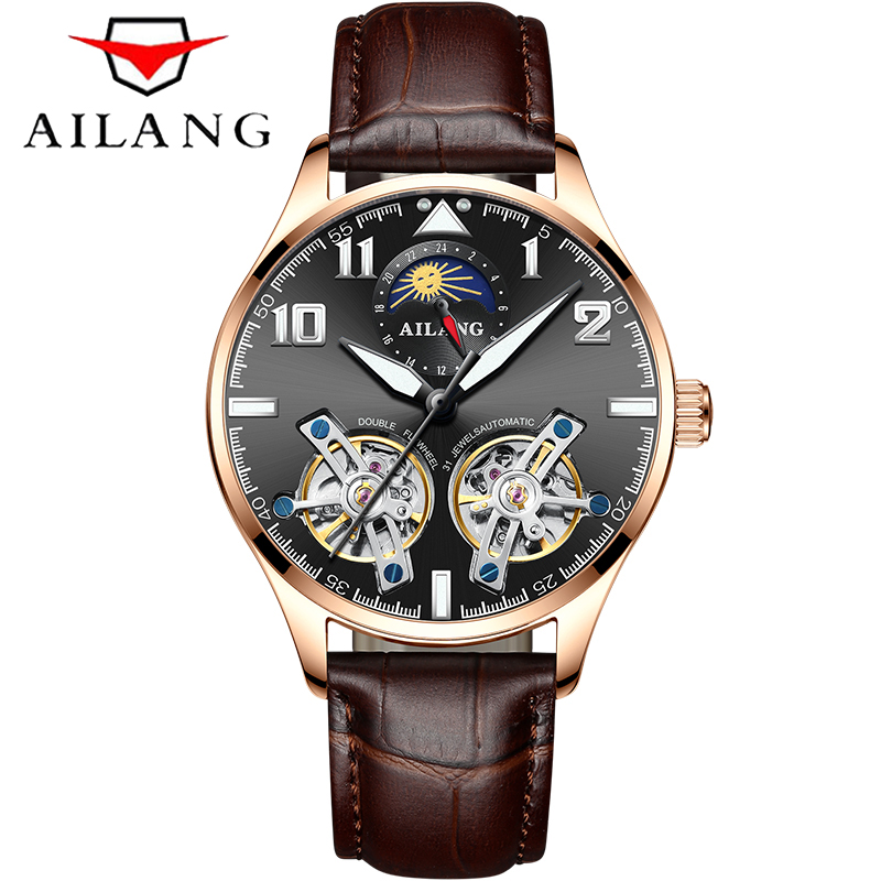 AILANG Brand Men Watches Automatic Mechanical Watch Tourbillon Sport Clock Leather Casual Business Wrist Watch Relojes Hombre