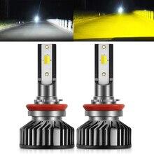 BraveWay 3000K + 6500K Led سيارة المصابيح الأمامية H7 LED H4 H8 H9 H11 المزدوج LED مصباح تلقائي متعدد الألوان الضباب أضواء دراجة نارية المصابيح
