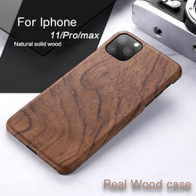 Natural Wooden phone case FOR IPHONE 11 PRO MAX case cover black ice wood ,Walnut, Rosewood walnut wooden american flag pattern protective back case for iphone 5 brown