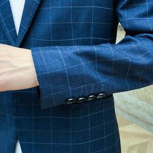 Image 5 - Yeni Slim Fit rahat ceket erkekler Blazer ceket tek düğme erkek takım elbise ceket sonbahar ekose ceket erkek Suite M 3XL damla kargo