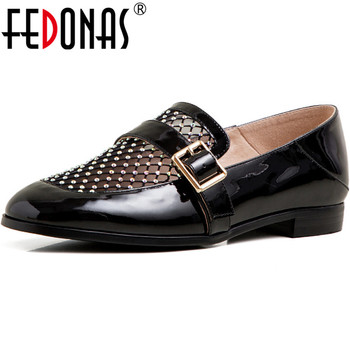 FEDONAS Cow Patent Leather 2020 Women Pumps Splice Basic Thick Heels Pumps Spring Summer Retro Button Decoration New Shoes Woman