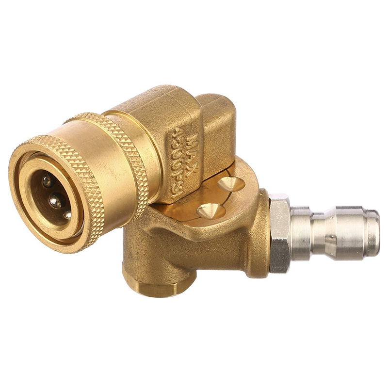Quick Connecting Pivoting Coupler For Pressure Washer Spray Nozzle, Cleaning Hard To Reach Areas, 4500 Psi, 1/4 Inch, Updated 90