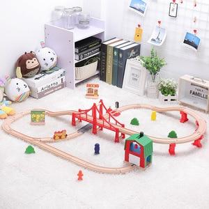 Image 3 - Детский набор игрушечного электрического поезда, магнитный игрушечный поезд с литыми отверстиями, деревянная железная дорога Bri o, трек для поезда, игрушки для детей, подарки