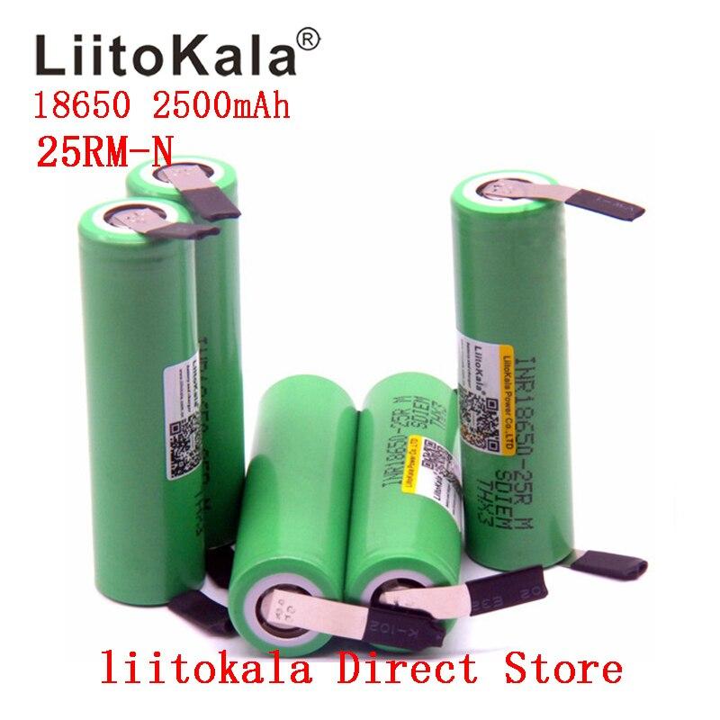 2019 nouveau 1-10 PCS/lot batterie originale Liitokala 18650 2500mah INR18650 25RM 20A décharge batteries au lithium
