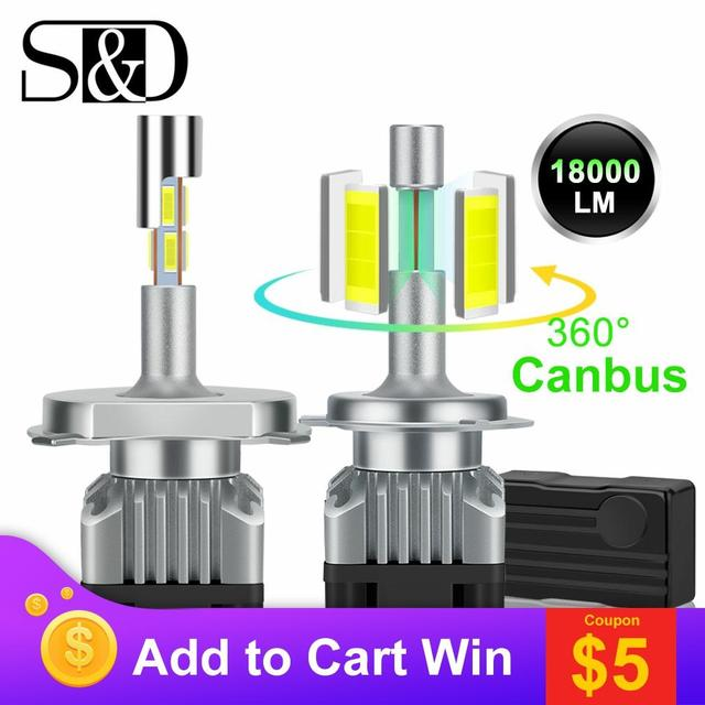 18000lm 4 lados canbus h7 led farol h1 turbo h4 9005 hb3 9006 hb4 led h8 h11 lâmpada 6500k diodo de 360 graus luz de nevoeiro automático