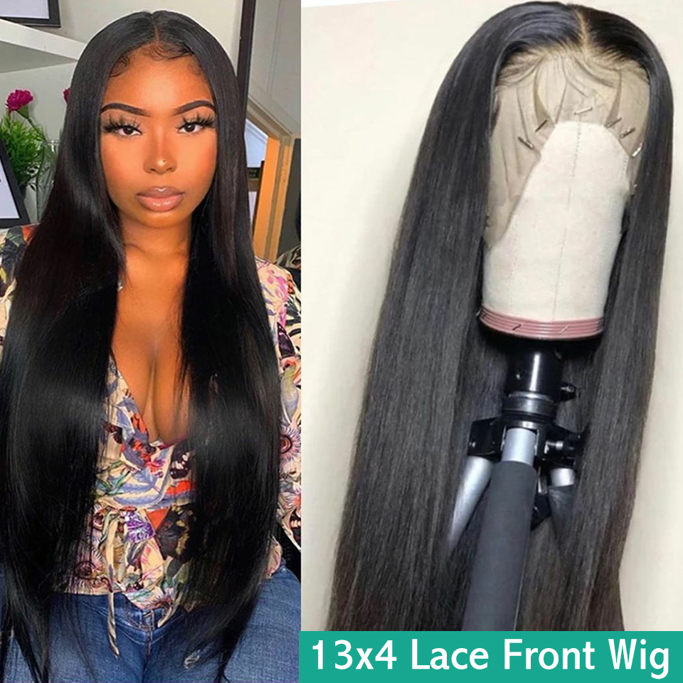 13x4 Lace Front Human Hair Wigs Pre Plucked Hairline Baby Hair Malaysian Straight Remy Hair Natural Color 150% Lace Front Wig
