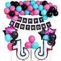 Тик тема в виде скрипичного ключа, латексные воздушные шары с днем рождения баннер украшение для вечеринки вентиляторы для вечеринок