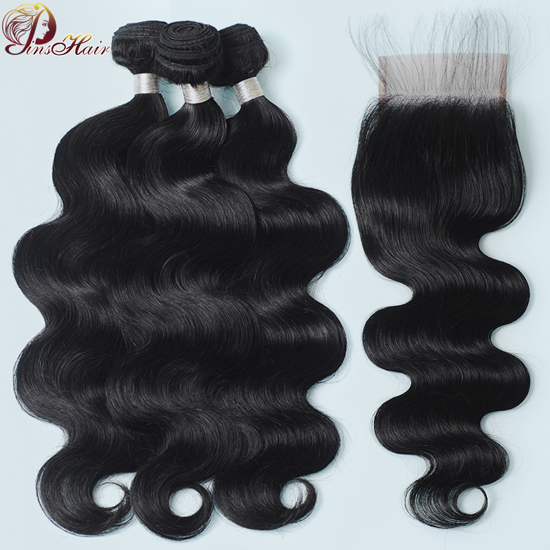 Pinshair 100 Human Hair Body Wave Bundles With Closure With Baby Hair Peruvian Hair 3 Bundles With Closure Remy Hair Extensions