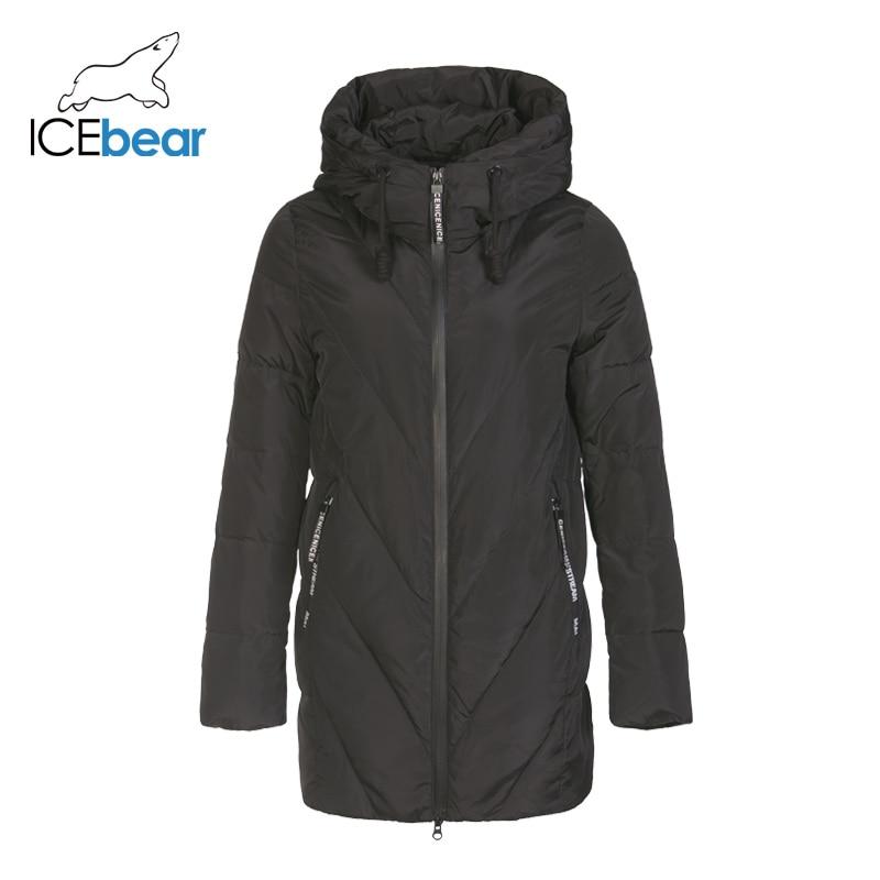 ICEbear 2019 New Winter Long Women's Down Jacket Fashion Warm Women's Jacket Hooded Brand Women's Apparel D4YY83017Y