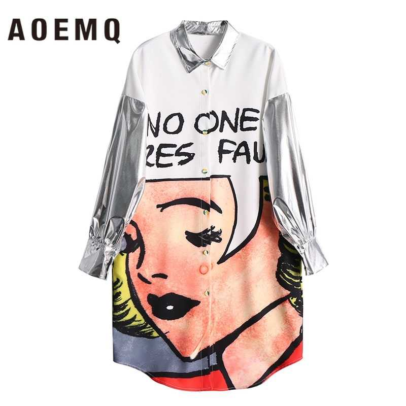 AOEMQ 晩餐ロングドレスでヨーロッパ漫画キャラクターガールプリントドレスと反射長袖女性服