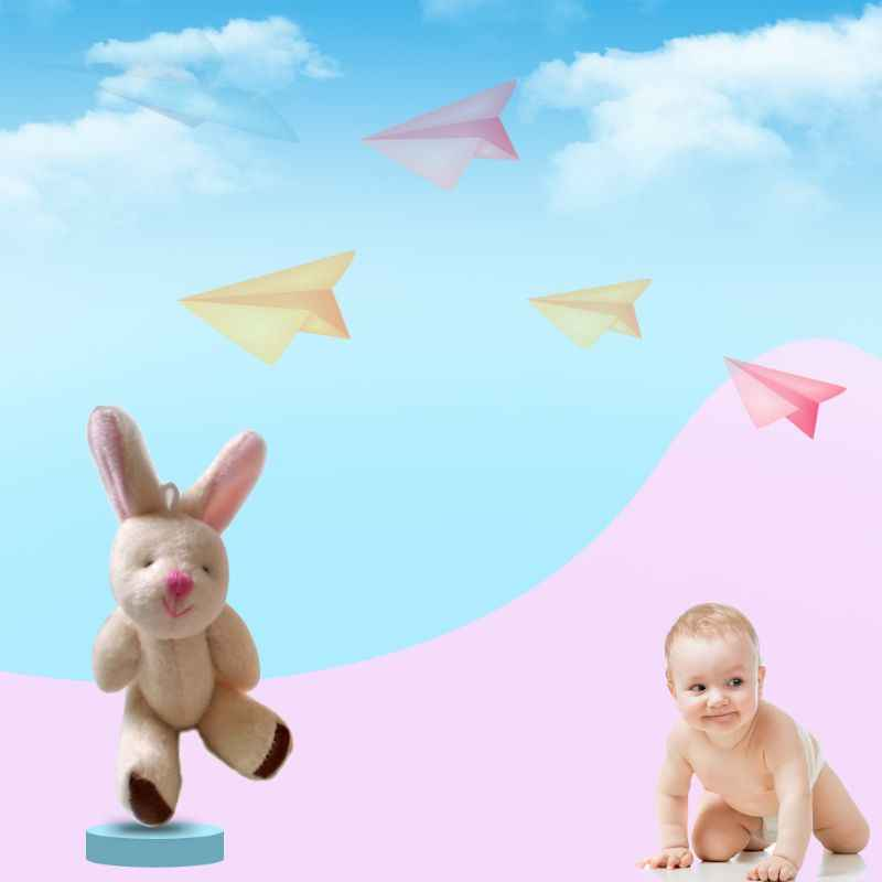 Cute Cartoon Soft Plush Rabbit Doll Backpack Pendant Baby Stroller Hanging Crib Tent Decor Ornaments Kids Toys Gift Y4QA