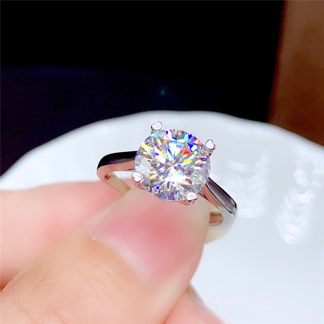 Moissanite Ring 0.5CT 1CT 2CT 3CT VVS Lab Diamond Fine Jewelry for Women Wedding Party Anniversary Gift Real 925 Sterling Silver
