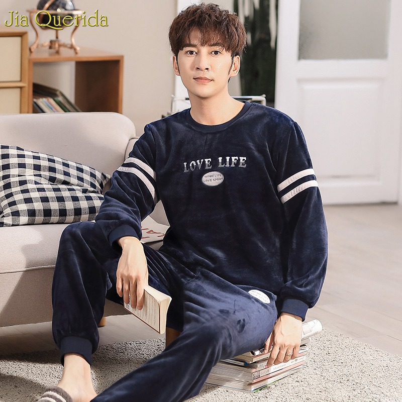 Pyjamas Men Couple-Set Sleepwear Clothing Warm Winter Home Letter Flannel 2pcs Long-Sleeves