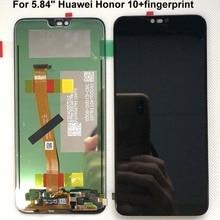 Сканер отпечатка пальца + 5,84 дюйма, для Huawei honor 10, ЖК дисплей, сенсорный экран, дигитайзер в сборе для Huawei honor 10, COL AL00, COL AL10
