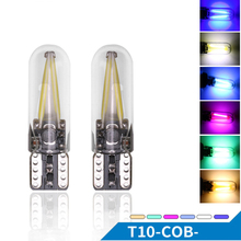 T10 194 2825 WY5W W5W Filament Lights COB LED Glass Shell Wedge Auto Parking Bulbs CANBUS NO ERROR Car Reading Dome Lamp DC 12V