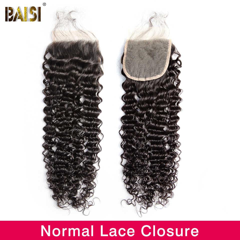 BAISI włosów peruwiańskie włosy dziewicze kręcone włosy koronki zamknięcie 4x4 bielone węzłów z dzieckiem włosy 100% ludzki włos