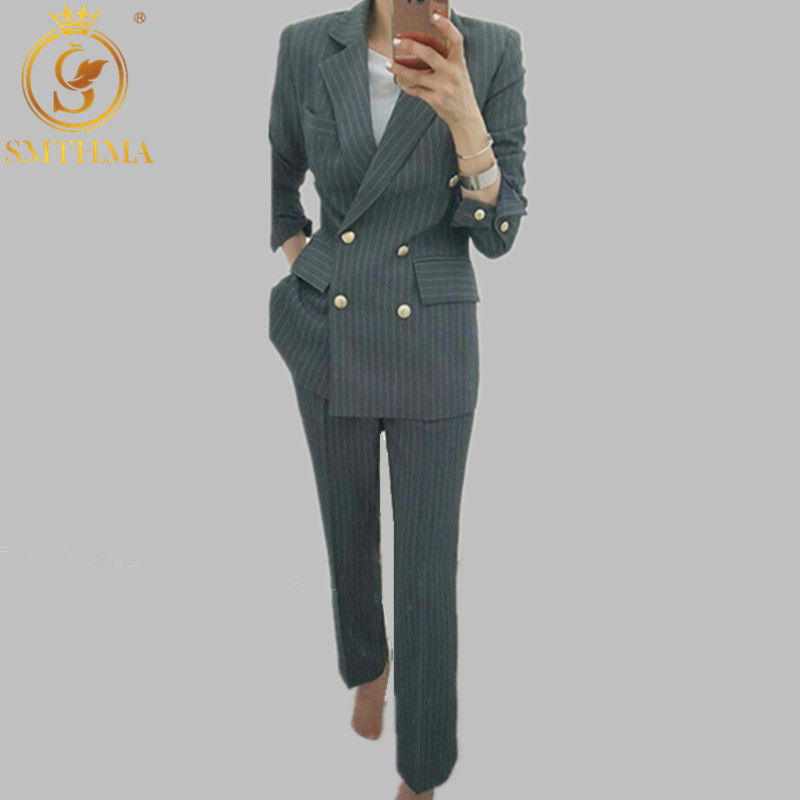 SMTHMA 2019 New Spring High Quality Women Notched Collar Blazer Jacket+Two-Piece Casual Lady Pant Suits