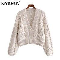 KPYTOMOA donna 2021 moda pompon Appliques maglione Cardigan lavorato a maglia corto Vintage manica lunga capispalla femminile top Chic