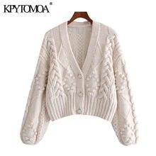 KPYTOMOA – Cardigan tricoté à manches longues pour femmes, pull court Vintage, avec des Appliques de pompons, à la mode, hauts chics, 2021