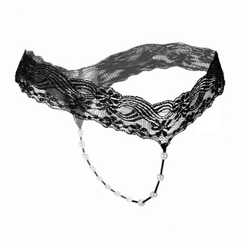Sexy Women Pearl G-string Underwear Lace Rope Thongs Hollow Panties Ladies Intimates Elastic Underpants String Femme - discount item  39% OFF Exotic Apparel