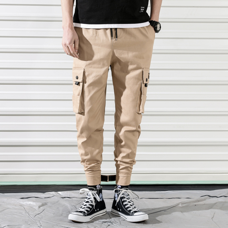 Japanese-style Loose Bib Overall Men's 2019 Spring New Style Magic Bags Velcro Skinny Pants Plus-sized Menswear Pants