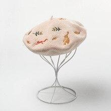 Winter Hat Embroidered Wool-Hat Beret Artist Rabbit Korean Fashion New And Mori Autumn