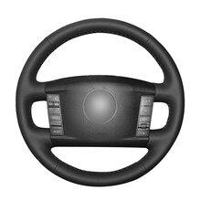 Funda de cuero Artificial para volante de coche, cubierta negra de PU para coser a mano, para Volkswagen VW Touareg Phaeton 2002-2006 2007 2008 2009 2010