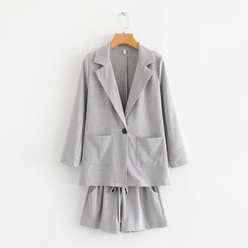 2019 Women Fashion Office Blazer And With Belt Bowknot Shorts Sets Female With Pocket Casual Work Suit