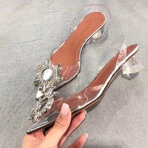 Image 5 - ビッグサイズ44 45女性はエレガント指摘ラインストーンハイヒールの結婚式の靴クリスタルクリアハイヒールパンプスサンダル