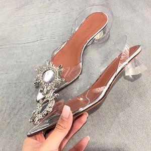 Image 5 - Big size 44 45 Women Pumps Elegant Pointed toe Rhinestones High heels Wedding Shoes Crystal Clear heeled Slingback Pumps Sandals