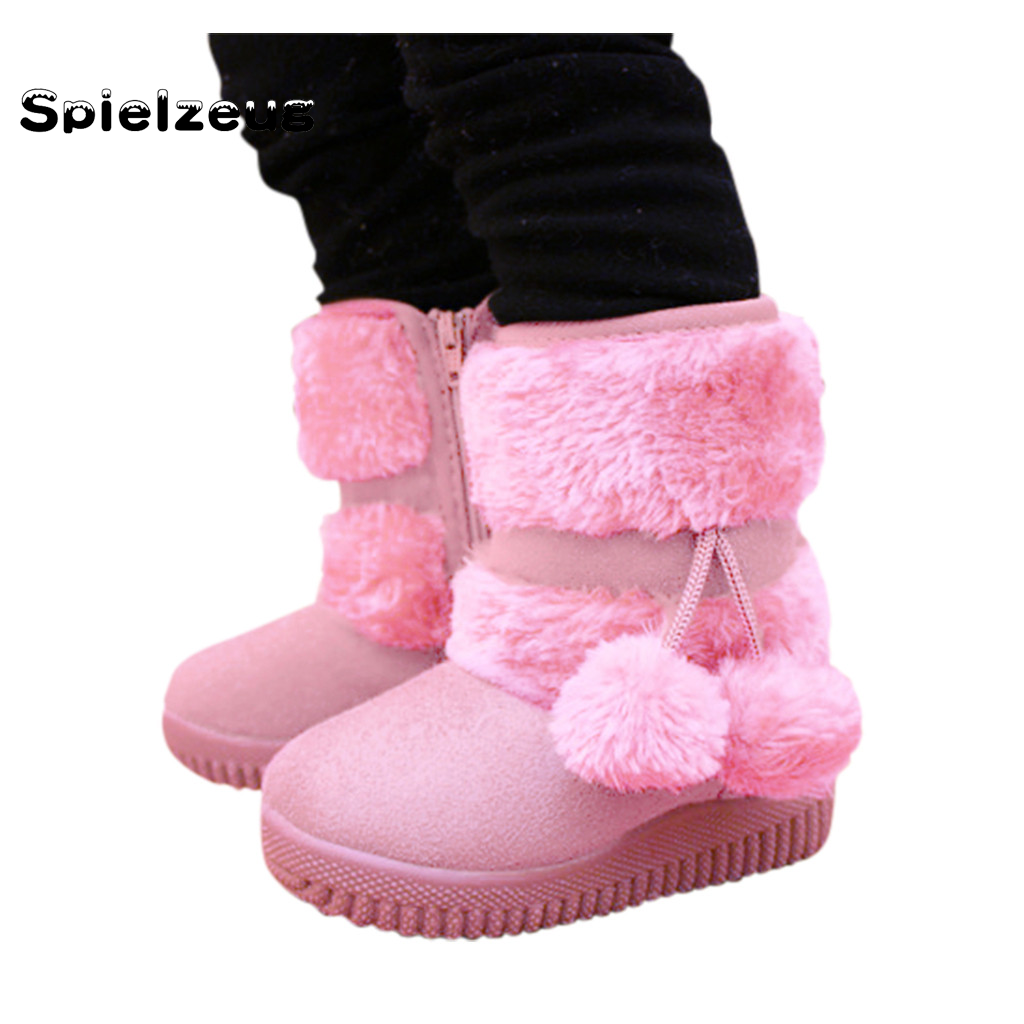 Girls Boots Winter Toddler Kids Baby Shoes Children Girls Solid Cotton Plush Warm Snow Boots Outdoor Fur Ball Pendant Shoes#g4